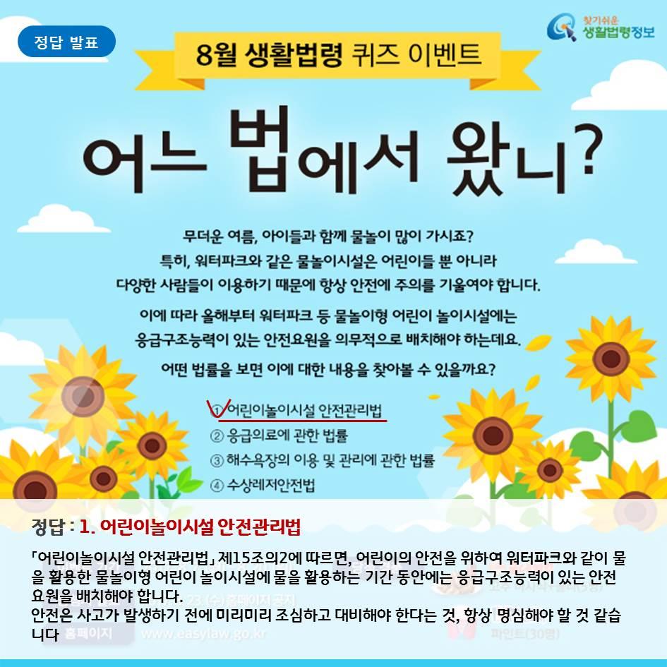 8월 생활법령 퀴즈 이벤트 정답 발표, 어린이놀이시설 안전관리법